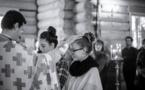 Миропомазание четырех молодых людей на воскресной литургии
